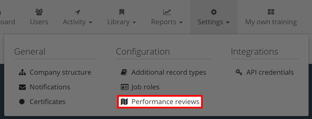 Image showing the options available on the Settings Tab, highlighting the Performance Reviews option.