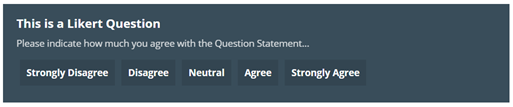 Image shows the finished view of a Likert Box, with the options: Strongly Disagree, Disagree, Neutral, Agree, and Strongly Agree. The Image text reads: This is a Likert Question. Please indicate how much you agree with the question statement.