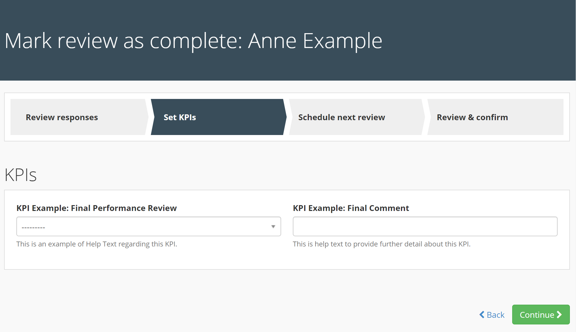 Image of both KPI examples side by side in the final Completion Form of the Performance Review. The help text is automatically displayed beneath the entry field for each KPI.