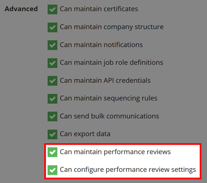 Image showing the settings options for a Manager account, highlighting the two at the bottom that relate to Performance Review Permissions.